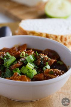 Tender chunks of pork are bathed in a rich chili sauce in this New Mexican Red Pork Chili that will leave you licking your bowl clean.::