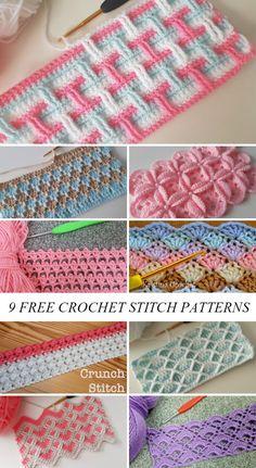 Crochet Stitches Free, Crochet Stitches For Beginners, Crochet Motifs, Afghan Crochet Patterns, Crochet Basics, Stitch Patterns, Crochet Stitches For Blankets, Different Crochet Stitches, Free Baby Crochet Patterns