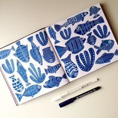 Lisa Congdon's sketchbook spread of fish using a Prussian Blue Koi Coloring Brush pen and White Gelly Roll. Lisa Congdon's sketchbook spread of fish using a Prussian Blue Koi Coloring Brush pen and White Gelly Roll. Luba Lukova, Coloring Brush Pen, Posca Art, Arte Sketchbook, Sketchbook Inspiration, Art Plastique, Painting & Drawing, Gouache Painting, Art Sketches