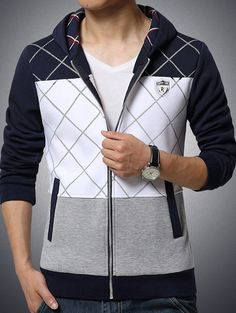 Cheap men's casual hoodie, Buy Quality brand hoodie directly from China fashion hoodie Suppliers: New Arrive 2017 Men Casual Hoodies Spring Brand Fashion Slim Fit Zipper Men Sweatershirt Plaid Patchwork Clothing Fashion Casual, Men Casual, Cheap Fashion, Sweat Cool, Winter T Shirts, Cool Hoodies, Sammy Dress, Comfortable Outfits, Mens Clothing Styles