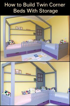 Need a good bed design for two little kids sharing one room? Here& one that maximizes use of space! Corner Twin Beds, Bed In Corner, Backyard Chicken Coops, Chickens Backyard, Best Bed Designs, Diy Bed, Bed Storage, Bunk Beds, Kids Bedroom