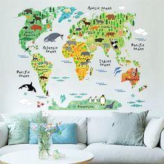 Dyreverdenskort Wallsticker - verdenskort med klodens dyr