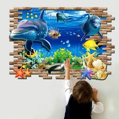 Dolphin Mural Decals Removable Wall Stickers Home Decor Art Vinyl Wall Mural Decals, Wall Stickers Wallpaper, Kids Wall Murals, Kids Room Wall Decals, Wall Stickers Home Decor, Kids Wallpaper, Mural Art, Wall Art, Room Wallpaper