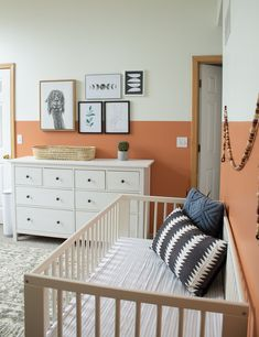 Modern Gender Neutral Nursery: Terra Cotta Baby Room The perfect gender neutral nursery featuring a terra cotta color block wall. The earthy colors of this modern nursery work for both boys and girls! Baby Bedroom, Baby Room Decor, Bedroom Decor, Bedroom Ideas, Nursery Room, Nursery Ideas, Kids Bedroom, Master Bedroom, Baby Room Neutral