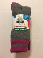 Girls Socks Shoe Size Large 4-10 Thermal Wool Blend Charcoal Fuchsia