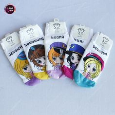 Girls Generation SNSD 5 Pairs of Character Socks PK Version 1