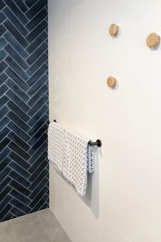 Navy blue and charcoal bathroom with modern luxe twist
