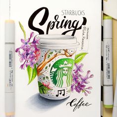 Spring in #Starbucks  Пришла весна и в #Старбакс распустились стаканчики. А я не смогла пройти мимо :) @starbucksrussia Copic Marker Drawings, Sketch Markers, Copic Art, Copic Sketch, Alcohol Markers, Copic Markers, Starbucks Art, Arte Sketchbook, Bullet Journal Art