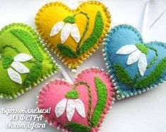Felt Ornaments Flowers hearts Easter decoration Spring flowers Spring Hanging gift for mother love pink yellow green blue Flower Ornaments, Felt Christmas Ornaments, Heart Ornament, Handmade Ornaments, Handmade Bookmarks, Ornaments Ideas, Fabric Crafts, Sewing Crafts, Embroidery Hearts
