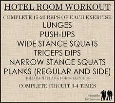 Do you travel often? No weights? No problem! These exercises can be done in your hotel room with or without weights.
