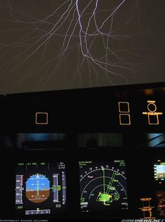 Saint Elmo's fire appears on our windshield as we cross a stormy cell. - Photo taken at In Flight in International Airspace on March Commercial Plane, Commercial Aircraft, In The Air Tonight, Airline Pilot, Flight Deck, Cool Photos, Travel Photography, Fire, Workspaces