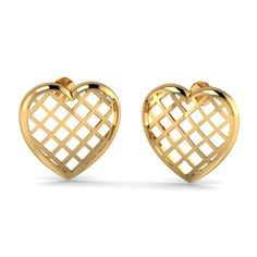 Checkered Heart Stud earrings @ aurobliss.com gold jewellery store India This checkered Heart Stud will be a best gift for you on this Valentine's Day. Buy this 18 kt gold Heart stud earrings from aurobliss.com online gold jewellery store. Free shipping and 100% certified.