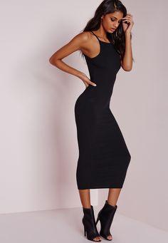 Missguided - Ribbed Square Neck Midi Dress Black