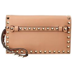 Valentino Valentino Rockstud Small Leather Flap Clutch (¥145,950) ❤ liked on Polyvore featuring bags, handbags, clutches, sand, red leather handbags, leather handbags, red purse, red clutches and red hand bags