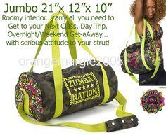 """Zumba JUMBO 21""""x12""""x10 TOTE Duffle BAG """"Funked Up"""" ~Gym~Travel~DURABLE! Hot-Rare #ZUMBAZUMBAFITNESS"""