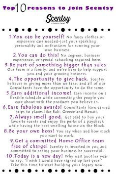 Top 10 reasons to Join Scentsy - my favorite is #10! https://scentsationssanantonio.scentsy.us