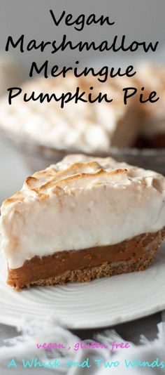 Fun and festive Vegan Marshmallow Meringue Pumpkin Pie is perfect for Thanksgiving, fall party, or anytime you want pumpkin pie! Layers of marshmallow meringue on top of pumpkin pudding pie and balancing out the sweet with a pretzel crust this pie is vegan and gluten free so all of your friends can and will enjoy it!