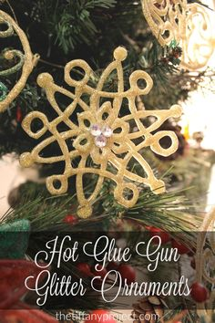 Hot Glue Gun Glitter Ornaments - Beautiful and simple creations using hot glue and glitter! An easy DIY Christmas project for anyone to try. @tiffanyproject