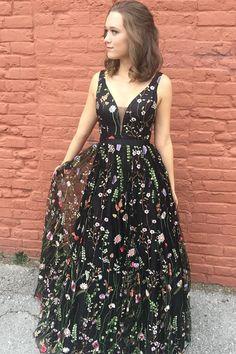 Princess Black Floral V Neck A Line Long Prom Dress,Graduation Dresses OK976