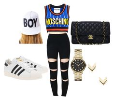 """""""Untitled #5"""" by cielo-pagan on Polyvore featuring Moschino, adidas Originals, Chanel, BOY London, Marc by Marc Jacobs and Leslie Danzis"""