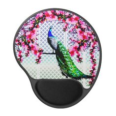 http://www.zazzle.com.au/peacock_cherry_blossoms_and_lattice_gel_mouse_pad-159729561161306439?rf=238523064604734277 Peacock Cherry Blossoms And Lattice - This gel mouse pad features a peacock perching on a cherry blossom branch in front of a lattice wall.