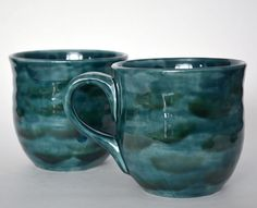 Now this is a coffee mug ;~D Large Ceramic Mugs  Teal Green  Set of 2 by RiverRockArtsMD, $42.00