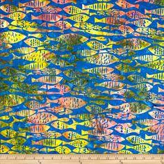 Michael Miller Batik Mod Fish Lagoon Fabric