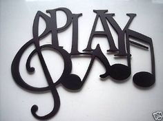 Amazon.com: Play Word And Music Notes Metal Wall Art Decor: Home & Kitchen