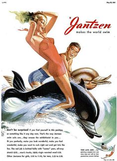 Jantzen makes the world swim! #vintage #summer #swimsuit #ad #1950s