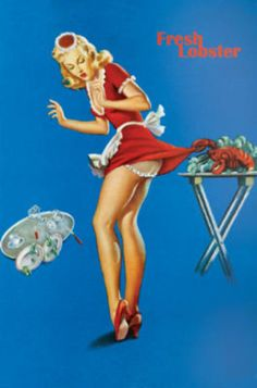 Fresh Lobster Blonde Waitress Pinched Retro Art Print Poster Poster