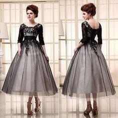 Tea Length Lace Plus Size Prom Dress with Sleeves Tulle Formal Party Gown Black