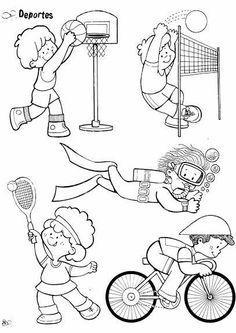 Album sous forme d& Sports Coloring Pages, Colouring Pages, Coloring Pages For Kids, Coloring Sheets, Art Drawings For Kids, Colorful Drawings, Drawing For Kids, School Sports, Kids Sports