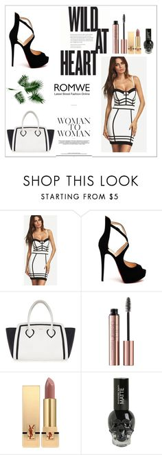 """Black & White Dress x"" by xpinkplaymatex ❤ liked on Polyvore featuring Christian Louboutin, Furla, Yves Saint Laurent and Hot Topic"