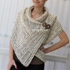 This Easy Crochet pattern Beginner crochet Patron crochet AZALI is just one of the custom, handmade pieces you'll find in our patterns & blueprints shops. Patron Crochet, Pull Crochet, Crochet Wrap Pattern, Crochet Poncho Patterns, Filet Crochet, Crochet Scarves, Crochet Cardigan, Dog Crochet, Crochet Vests