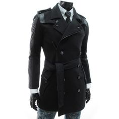 (FC01-BLACK) Slim Fit Double Breasted Leather Patched Belted Coat