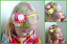 Felt Flower Headband  Polka dot Blossoms by Sweetlittleblossoms