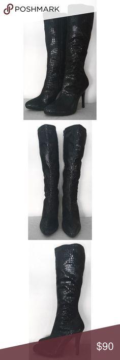 """WHITE HOUSE BLACK MARKET METRO BLACK TALL BOOTS 9 WHITE HOUSE BLACK MARKET METRO BLACK TALL BOOTS SZ 9 - 4 3/4"""" HEEL White House Black Market Shoes Heeled Boots"""