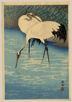 1930 - Shoson, Ohara - Two Cranes In Shallow Water