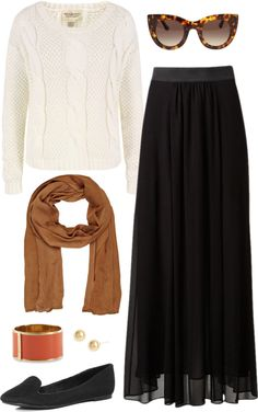 how to wear a maxi skirt in winter, created by boxandbrownie on Polyvore