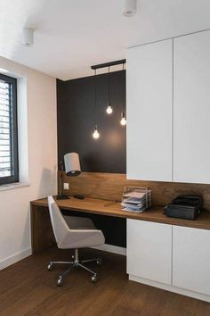 a home office nook is visually separated from the . a home office nook is visually separated from the rest of the space with a black statement wall – Interior, Office Nook, Office Interiors, Trendy Living Rooms, Home Office Table, House Interior, Home Office Design, Interior Design, Office Design