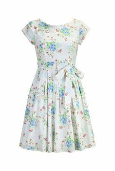 eShakti Women's Swiss dot floral print cotton dress XS-0 Regular White multi