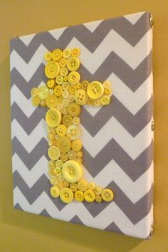 Grey and yellow button art! This looks like something one of my girls would like