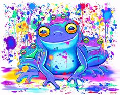 A colorful whimsical rainbow painted frog family Bipolar Art, Frog Rock, Frog House, Frog Illustration, Frog Tattoos, Frog Pictures, Family Painting, Frog Art, Rainbow Painting