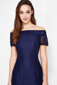 Petite Navy Lace Bardot Dress