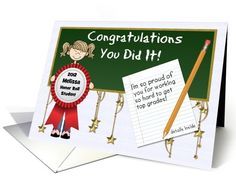 Personalized Name Cards card: Honor Roll Congratulations Custom Front YOUR NAME with Girl Card by Doreen Erhardt