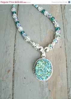 Titanium Druzy Agate Pendant Necklace in a by KrystalKlarityBeads