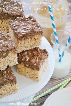 Peanut Butter Crunch Rice Krispies Treats | www.somethingswanky.com