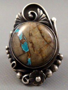 *L JUAN* Navajo LARGE Sterling Silver & *BOULDER* Turquoise SQUASH BLOSSOM Ring