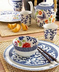 Ralph Lauren Mandarin Blue. I love the pops of color in this photo, but it's not in the place settings.