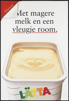 'Met magere melk en een vleugje room' Boter reclame. Meer over boter? Ga naar: http://www.milkstory.nl/artikel/echte-boter  #boter #reclame #affiche #90s #advert #milk #dairy #zuivel